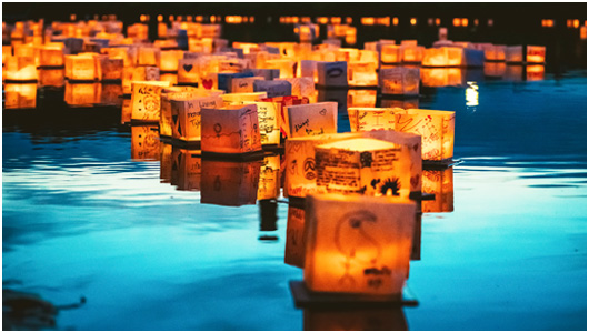 lantern floating on water